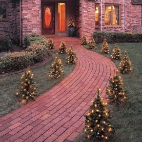 Christmas tree walkway lights for Sidewalk christmas lights