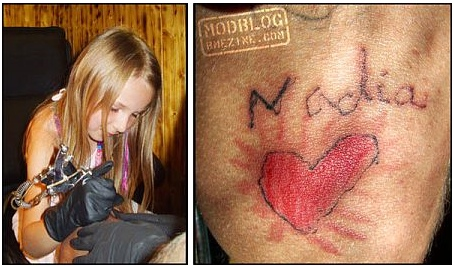 Spirytus got his knee tattooed by his six-year-old daughter Nadia,